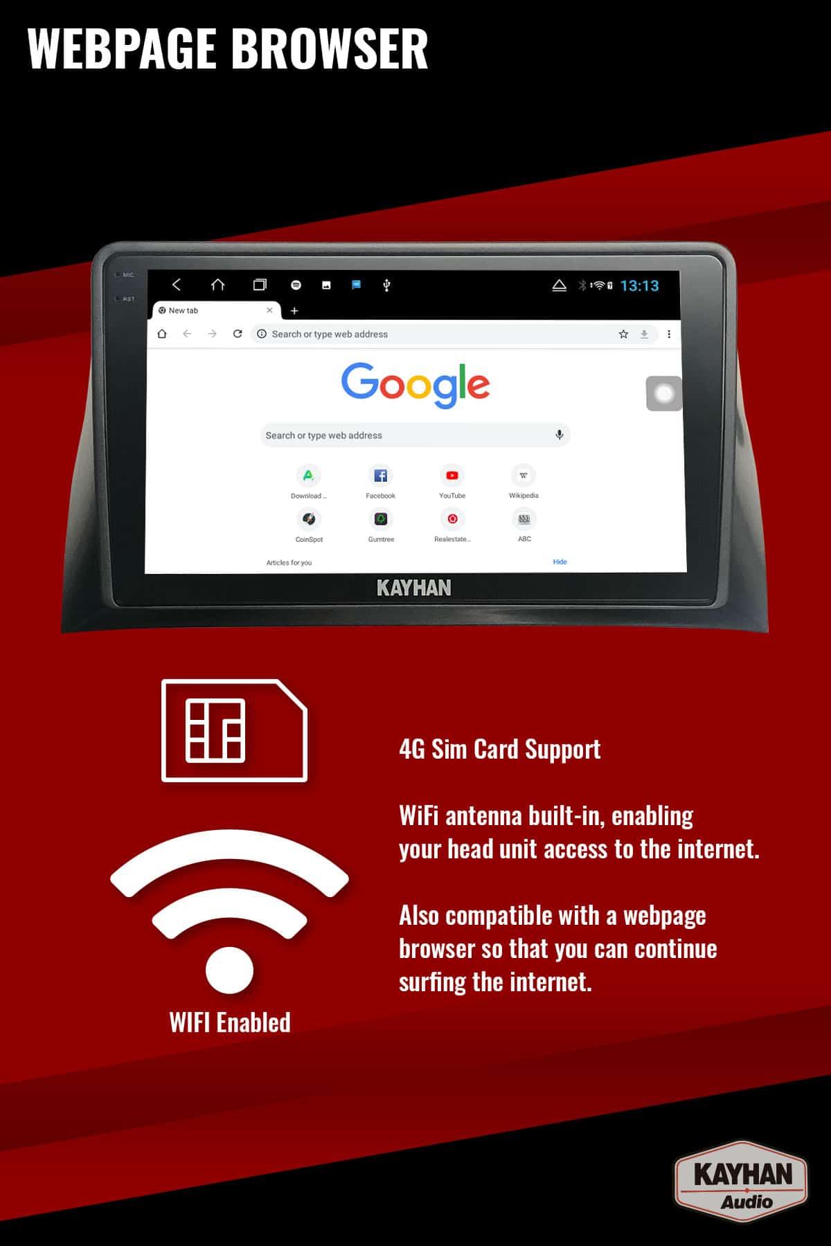 SatNav for FORD Falcon FG MKI _ 9.6″ inch VERSION III - 12 webpage browser
